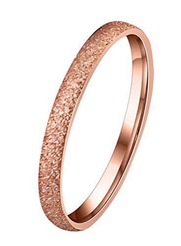 Alextina donne acciaio inossidabile 2mm magro all'eternità anello fede cupola finire rosa oro tono dimensione 9