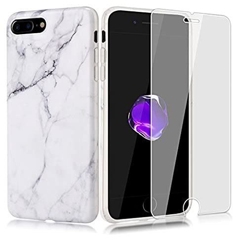KMALL iPhone 7 Plus Case,Slim Premium Glossy White Marble Design Shockproof Flexible Smooth TPU Soft Case Rubber Silicone Skin Cover for Apple iPhone 7 Plus