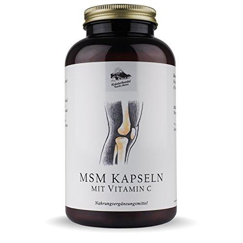 MSM Kapseln • 1400 mg MSM • hochdosiert • mit Vitamin C • 300 Kapseln (5 Monatsvorrat) • OHNE Magnesiumstearat • Deutsche Premium Qualität • Kräuterhandel Sankt Anton
