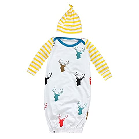 Kingko® 0~12 Month Unisex Baby Infant Long Sleeve Deer Print Newborn Gown Matching Hat Clothes Kicking Wear Sleeping Bag(Cap + Gown Set) (Age:0~6