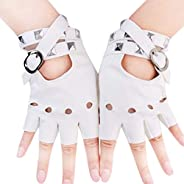 Women Fingerless Leather Gloves, Punk Rivets Driving Personality Half Finger Gloves,Fitness Bar Band Performan