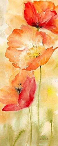 Rahmen-Kunst Keilrahmen-Bild - Cynthia Coulter: Watercolor Poppy Meadow Spice Panel II Leinwandbild Mohn-Blumen Blüten modern - Blume-panel