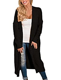 FIYOTE Damen Lang Cardigan Langarmshirt mit Tasche Strickjacke Bluse Tunik ideal für Winter Herbst 5 Farbe S/M/L/XL/XXL