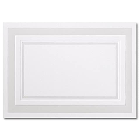 Fine Impressions Fold-Over Response Cards, Hi-White with Embossed Pearl Border, 250 Count (RRAN4FPEMBW)