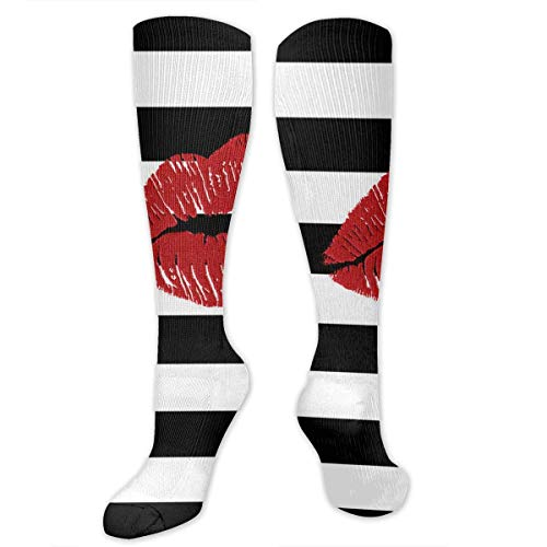 Jxrodekz Sexy Lips Printed in Black And White Stripes Compression Socks for Men Women Nurses Runners Medical Stocking Maternity Travel - Best Performance Recovery Circulation Stamina