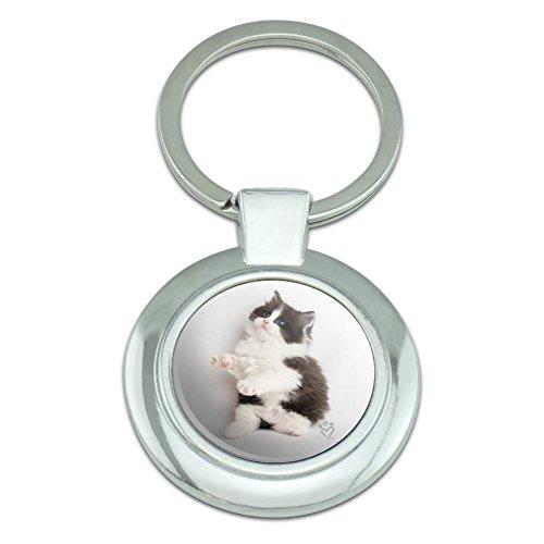Perserkätzchen Katze schwarz weiß Classy Round verchromt Metall Schlüsselanhänger