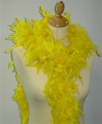 Federboa Schmuckfedern, gelb, 180cm, gute Federdichte