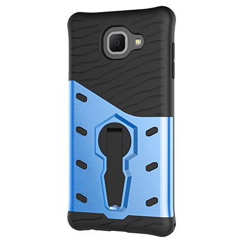 Heavy Duty Armor Denfender Back Cover 360 ° Drehbarer Stand Shockproof Case 2 in 1 PC + TPU Shell Cover für Samsung Galaxy J7 Max ( Color : Silver ) Blue