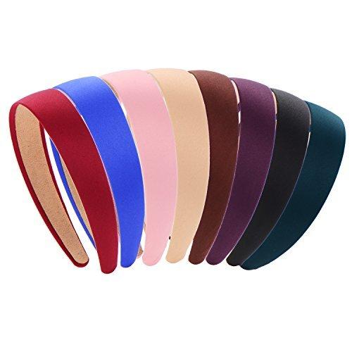 Cerchietti a fascia con nastro di raso, larghi 2,5 cm, 8pezzi in 8colori