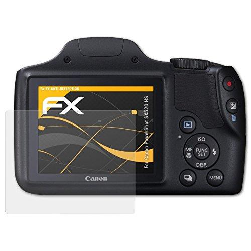 atFoliX Panzerfolie kompatibel mit Canon PowerShot SX520 HS Schutzfolie, entspiegelnde und stoßdämpfende FX Folie (3X)