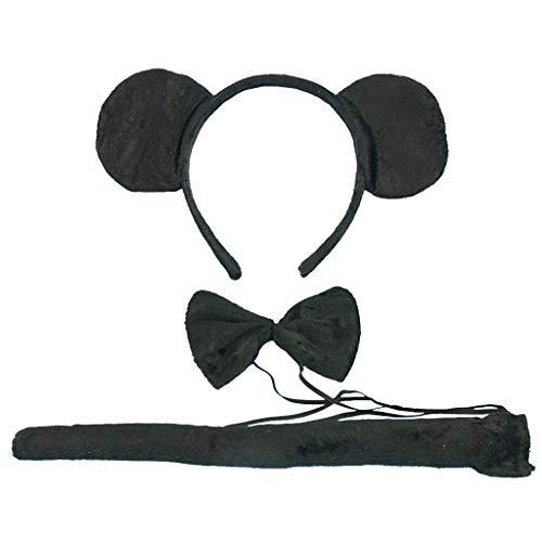 Tumao 3 piezas Diadema de Mouse Orejas, con Corbata y Cola Negro para Regalos de Niños & Adultos Accesorios de ropa cosplay