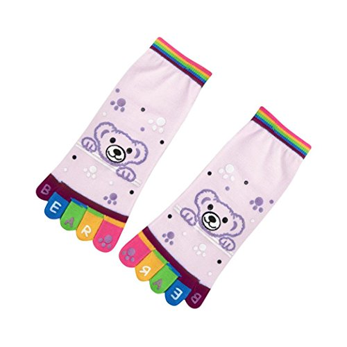 Socken HKFV Dame Frauen Mädchen Cartoon Zehensocken Fünf Finger Socken Baumwolle Lustige Socken Kreative niedliche Baumwolle Socken fünf Finger Socken Cartoon Dame Socken (Rosa, Bär)