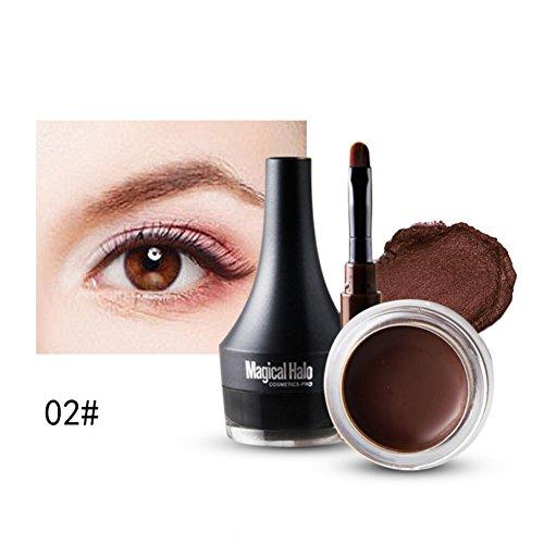 Etanche Eyeliner Gel, KISSION Longue Durée Crème de Sourcil & Eyeliner Gel Avec Brosse Sets (Brown)