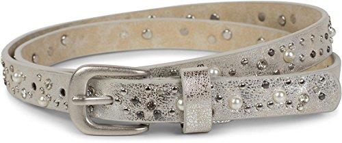 styleBREAKER cinturón fino remaches, perlas y estrás, cinturón de remaches «vintage», reducible, señora 03010086, tamaño:100cm, Color Plata antigua
