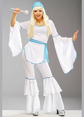 (Magic Box Int. Damen 70er Jahre Weiß Abba Style Super Trooper Kostüm Medium (UK 12-14))