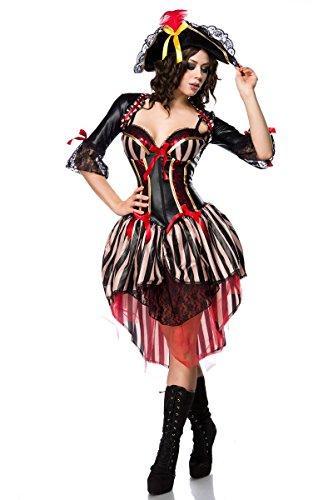 Piratin Damenkostüm Seeräuberin schwarz-rot-Weiss S ()