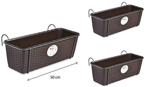 3 Stück Pflanzkasten im Rattan Design mit integriertem Wasserspeicher und Metallrahmen für Geländer Aller Art oder zum Aufstellen, Maße B 50 x H 18 x T 16 cm, Farbe braun