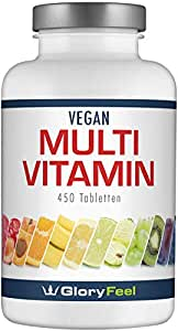 Multivitamin 450 Tabletten Hochdosiert - Der VERGLEICHSSIEGER 2019* - Alle Wertvollen A-Z Vitamine und Mineralstoffe für 15 Monate - Laborgeprüft und Vegan ohne Zusätze hergestellt in Deutschland