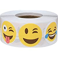 Emoji Happy Face Stickers, 25 mm 1 Inch Fun Circle Labels 500 Pack