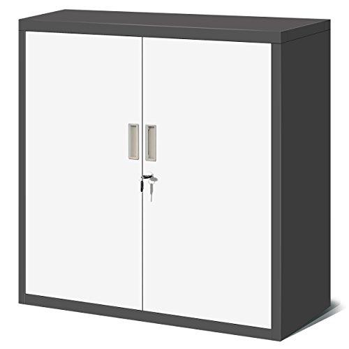 Kleiner Aktenschrank C001B Büroschrank mit Flügeltüren Metallschrank Lagerschrank Pulverbeschichtet Stahlblech Abschließbar 92,5 cm x 90 cm x 40 cm (H x B x T) (anthrazit/weiß)
