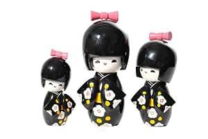 Figure / poupée pour collectionneurs, figurines en bois avec base - une petite famille de 3 membres (12cm de haut), Art 1J3K-BL