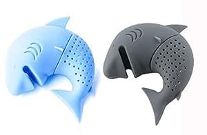 iNeibo Kitchen infusore/ filtro/ colino in silicone per te e tisane a forma di squalo, design intelligente si adatta a tutte le tazze, silicone 100% alimentare privo di Bpa, Set da 2 infusori (Azzuro, Grigio scuro)
