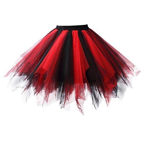 Honeystore Damen's Tutu Unterkleid Rock Abschlussball Abend Gelegenheit Zubehör Schwarz und Rot (M&m Kostüm Selbstgemacht)