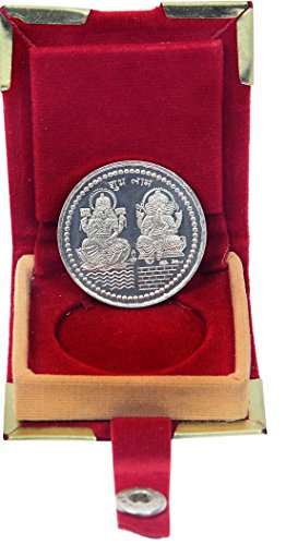 Vishal Gems Coin Laxmi Ganesh Ji German Silver Plated 10 Grams With Free Coin Box