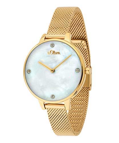 s.Oliver Damen-Armbanduhr Analog Quarz (Gold/Perlmutt-Weiß)
