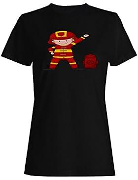 Historieta feliz divertida del bombero camiseta de las mujeres g793f