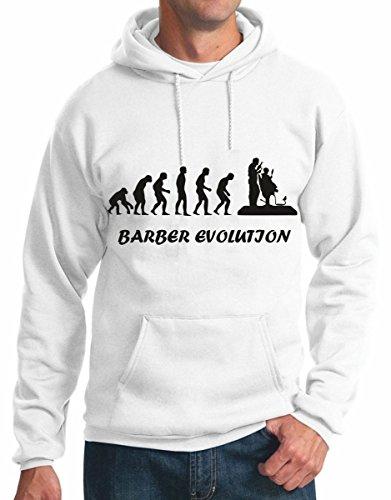 felpa con cappuccio humor Barber Evolution, evoluzione barbiere - tutte le taglie uomo S M L XL XXL maglietta by tshirteria bianco