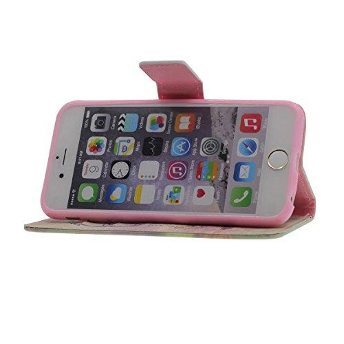 """Foliant Flip Hülle Schutzhülle für iPhone 6 6S 4.7"""", Karte Halter Brieftasche Funktion, Hübsch Tier Gedruckt Malerei Stil ( Leopard ) Case Handy Tasche für Apple iPhone 6S 4.7 Zoll A12"""
