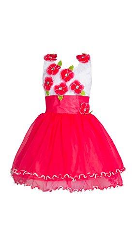 My Lil Princess Baby Girls Birthday Party wear Frock Dress_Red Flora_Net Fabric_3-4...