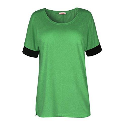 ELFIN® Frauen Damen T-Shirt Rundhals Kurzarm Ladies Sommer Casual Oberteil Locker Bluse Tops - weiches Material - sehr angenehm zu tragen Grassgrün