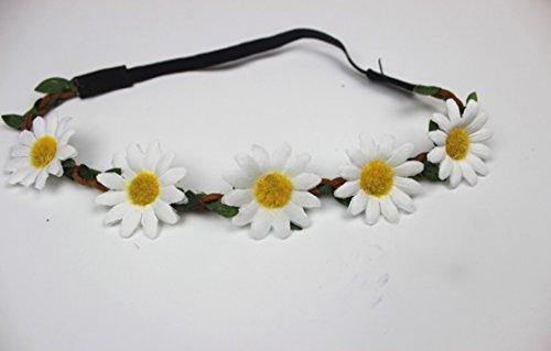 suxian Hochzeit Sonnenblume Haar Kranz Blume Girlande Krone Festival Floral Kopfband (cremeweiß) (Blume Krone Sonnenblume)