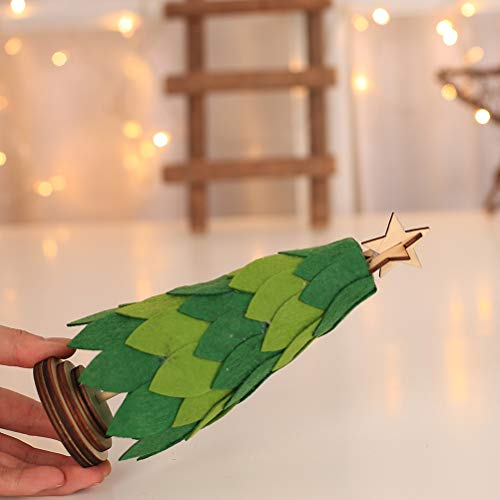 Amosfun Mini Weihnachtsbaum mit Stern Miniatur Tannenbaum Kunstbaum Weihnachtsdeko Tischdeko (Grün) (Mini-weihnachtsbaum-sterne)
