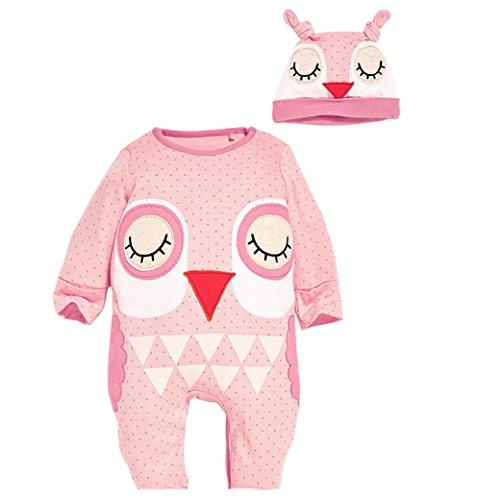 Happy Cherry Baby Overall Baumwolle Kind Mädchen Schlafanzug mit Hut Herbst Spielanzug Frühling Cartoon Vögel Model Fleeceanzug Jumpsuit 90 - Rosa