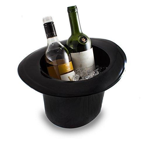 Top Hat - Secchiello per il ghiaccio stile Vintage, colore: nero, cilindro in acrilico, per vino e Champagne