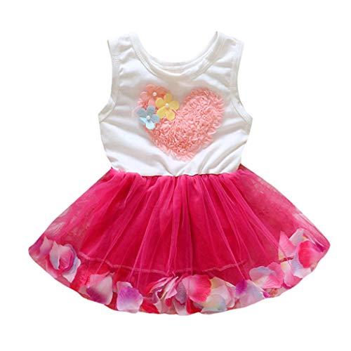 LEXUPE Kleinkind scherzt Baby-Mädchen-Prinzessin Flower Lace Tulle Tutu Party Dress Clothes(Rot,90/M)