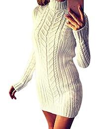 692d34f6f688 CIELLTE 2019 Mode Femme Pull Robe Col Roulé Sweater Manches Longues en  Tricot Vintage Mini Dress