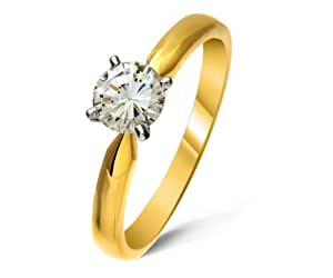 Stunning 18 ct Gold Ladies Solitaire Engagement Diamond Ring Brilliant Cut 0.50 Carat IJ-I1 Size H