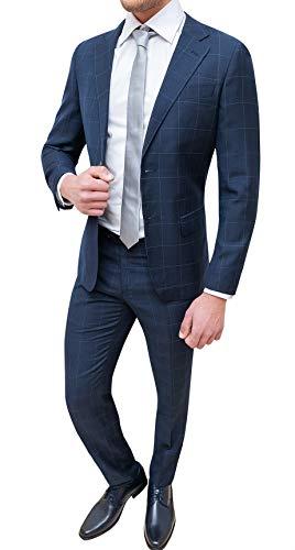 7e42e0647a Evoga Abito Completo Uomo Sartoriale Blu Quadri Smoking Vestito Elegante  Cerimonia (48, Blu)
