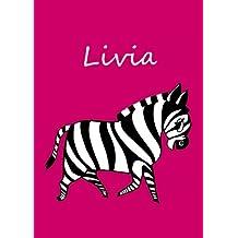 personalisiertes Malbuch / Notizbuch / Tagebuch - Livia: Zebra - A4 - blanko