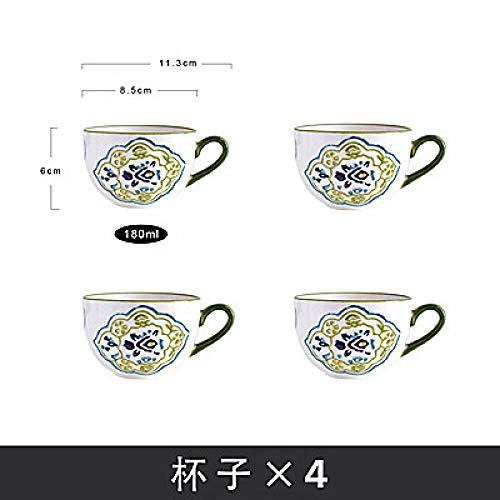 Handbemaltes Kaffeetassenset kleiner frischer Tee Teeset Früchteteeset Nachmittagstee Retro-Becher Tasse x4 180ml