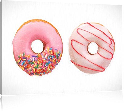 effetto satinato Donuts Bunstift, formato: 120x80 su tela, XXL enormi immagini completamente Pagina con la (Fragola Caffè Aromatizzato)