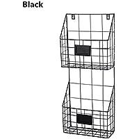 ShouYu Revistero Estante montado en la pared del hierro labrado estante simple del compartimiento de periódico de la sala de estar del estante Cesta del almacenaje (Negro,59.5 x 24.5 x 9.8cm)