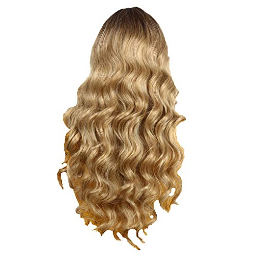 Damenperücken 75 cm/Dorical Frauen Gold Gewellt Wigs/Fashion Lang Lockiges Haarteile/Perücke für Karneval Fasching Cosplay Party Kostüm für verschiedene Hautfarben(Gold)