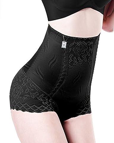 Junlan Womens Cotton High Waist Comfy Covered Stretch Boyshort Panty Underpants (L, Black)