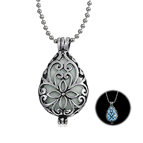 Dazzle Flash Silver Plating Vintage Oval Shape Pendant Necklace Glow In The Dark Jewelry N302-12 by Dazzle