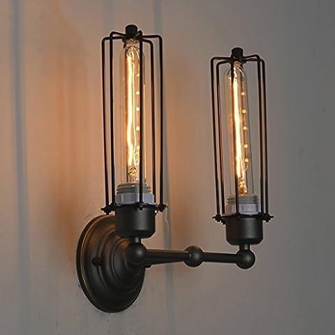 Lampe murale de haute qualité Vintage Style Industrial 2 lumières Huile frotté Bronze Mini Wire Cage Lampe murale Rétro Beacon Tube Lamp Home Lighting Fixture High: 33 Cm